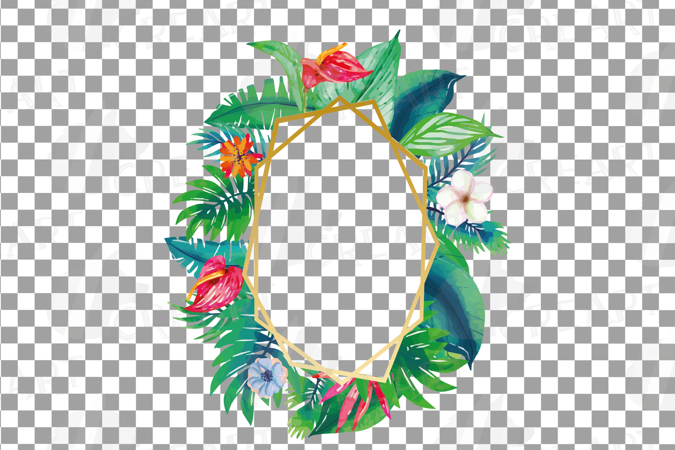 Watercolor tropical navy blue and green exotic floral frames example image 5