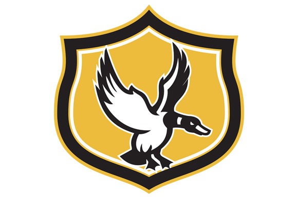 Mallard Duck Wings Landing Crest Retro example image 1