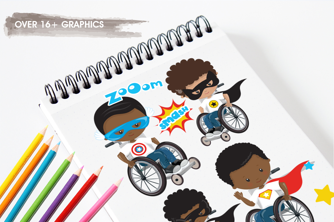 Superhero in wheelchair graphic and illustrations example image 5