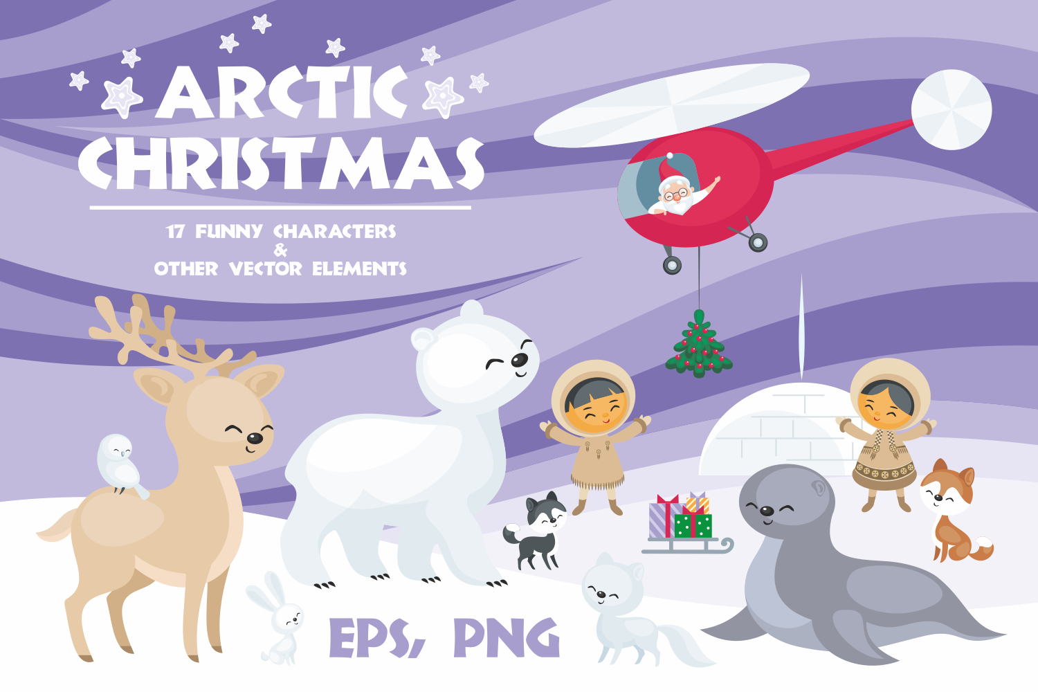 Arctic Christmas. Vector clip arts example image 1