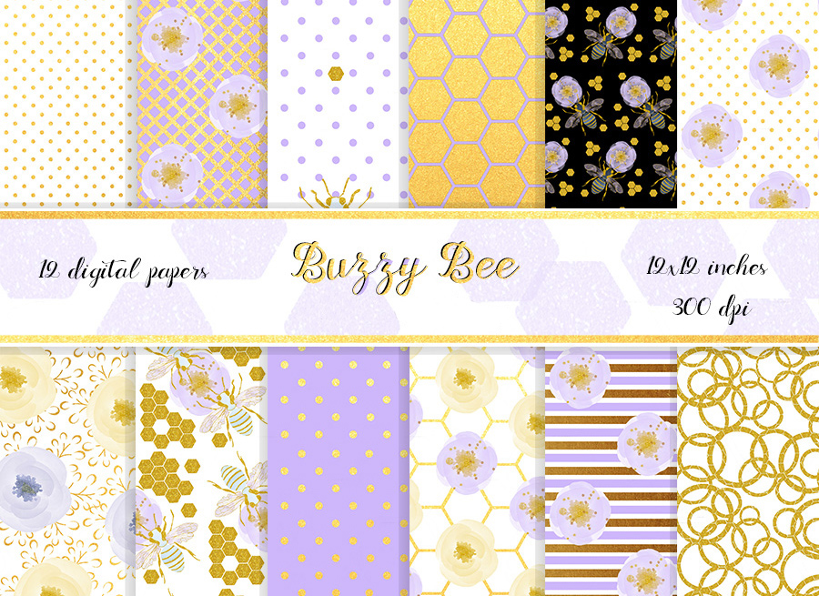 Honey bee digital paper pack. 12x12 inches example image 1