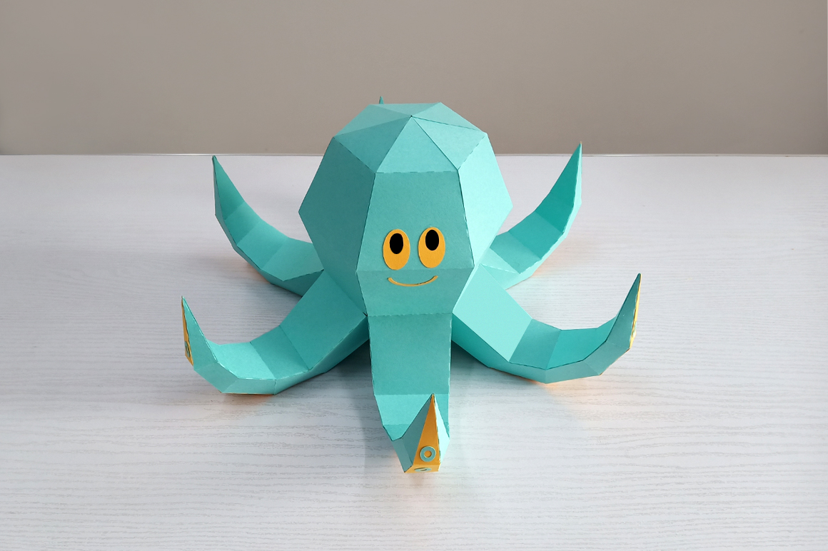 DIY Octopus Sculpture - 3d papercraft example image 3
