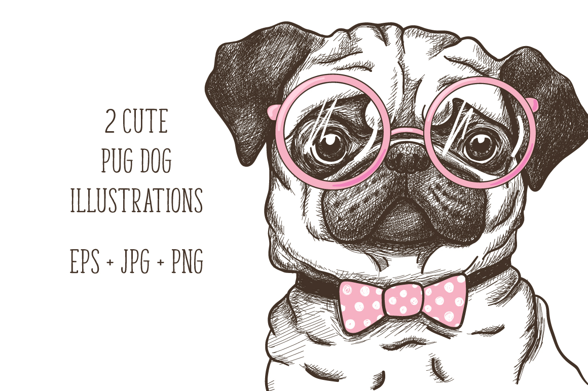 hand drawn funny fashionable pug example image 2