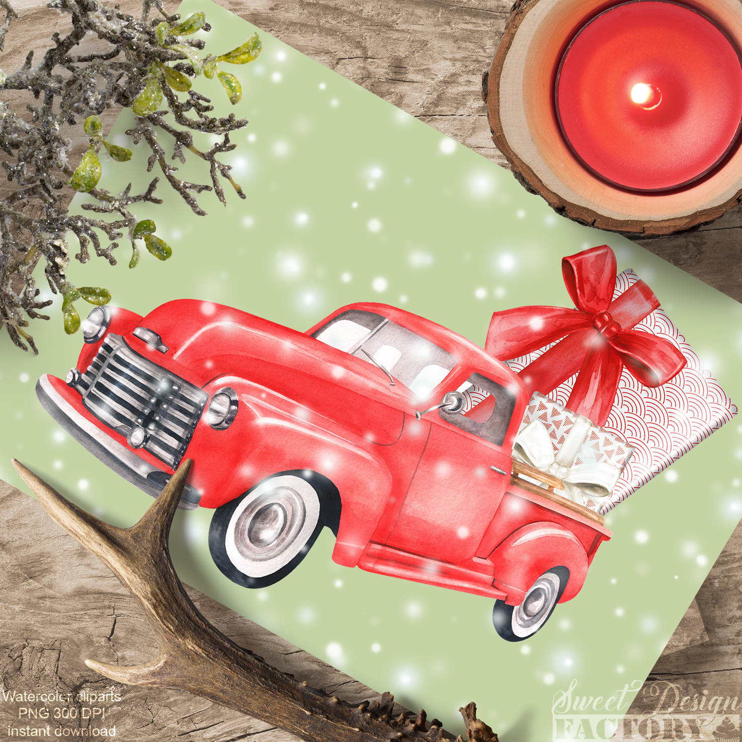 Watercolor Christmas retro truck clipart example image 6