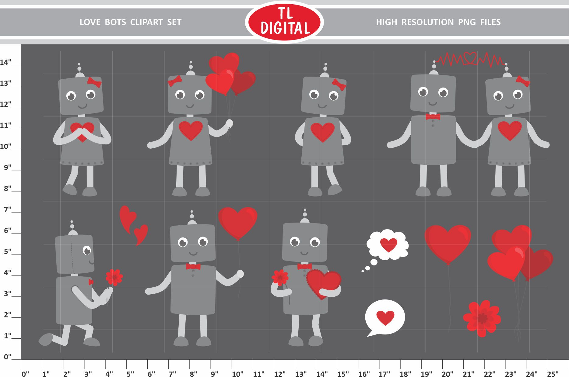 Love Robots Clipart Set - 13 Valentines PNG Graphics example image 1