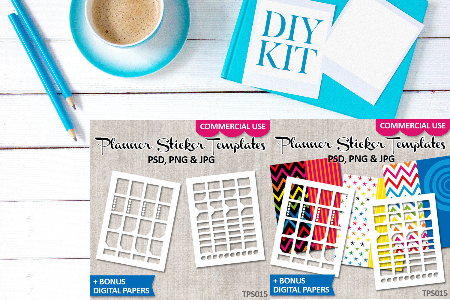 Erin Condren Planner Stickers Templates Bundle Vol. 5 example image 2