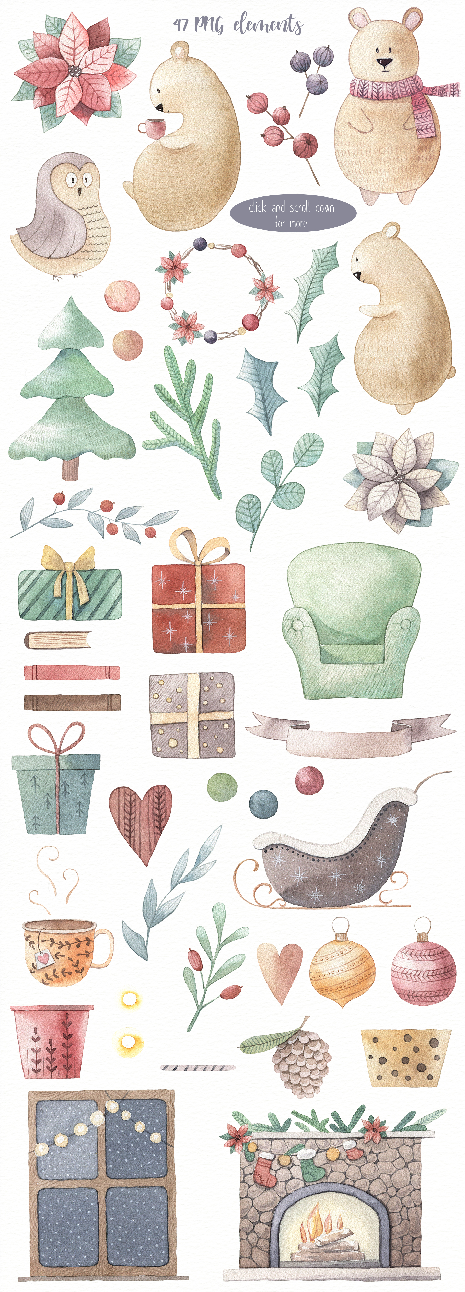 One Bear Christmas Story-Watercolor set example image 3