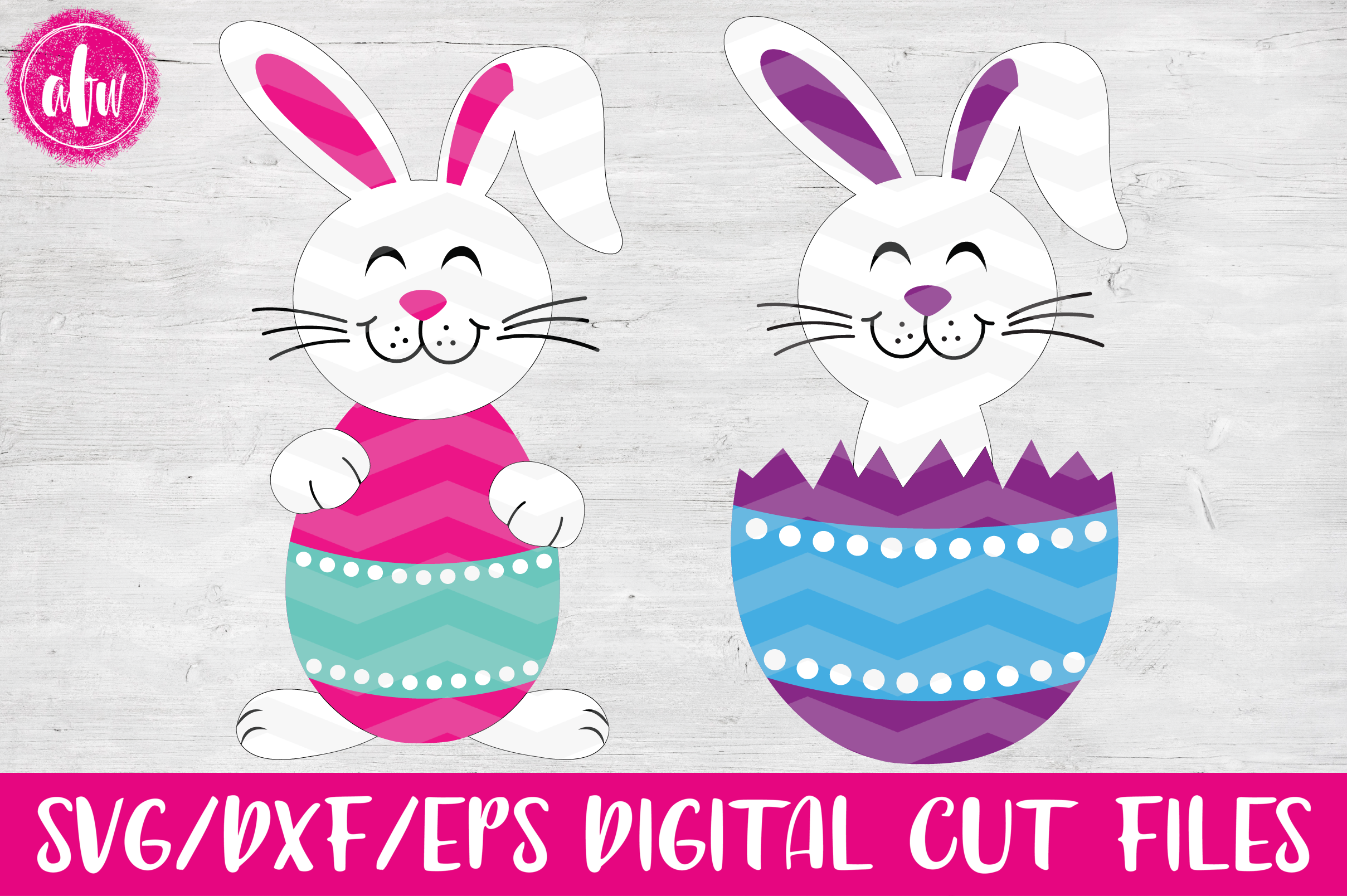 Easter Bunny Egg Duo - SVG, DXF, EPS Cut Files example image 2