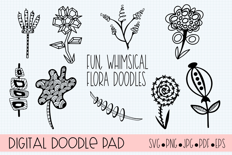 Floral Doodle Bundle Silhouette and Cricut example image 2