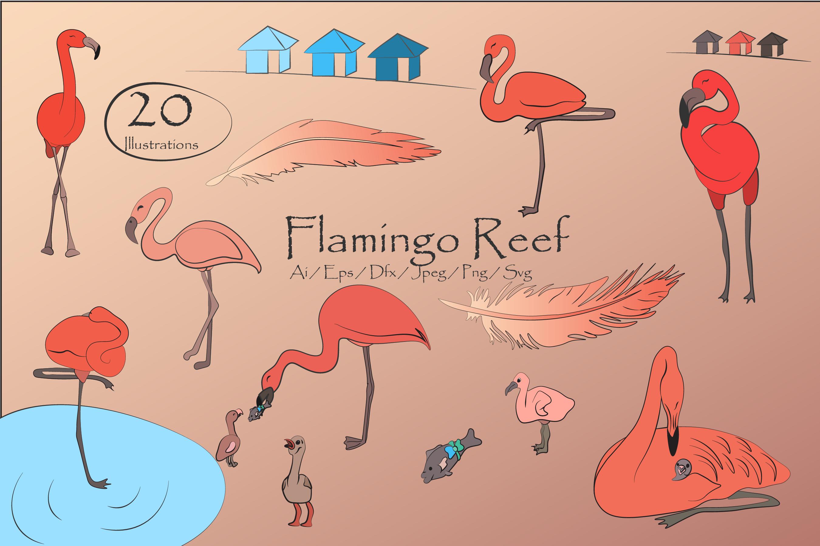 Flamingo Reef- Cute Flamingo's Clipart example image 2