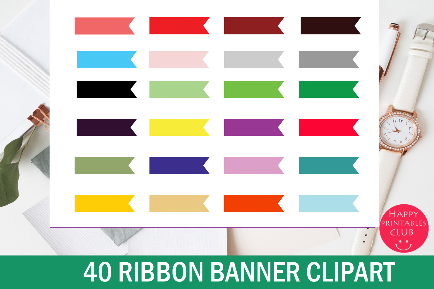 40 Ribbon Banner Clipart - Digital Banner Graphic Set example image 1