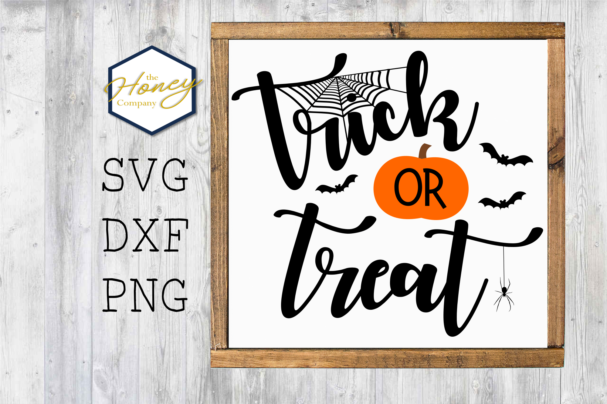 Trick or Treat Pumpkin SVG PNG DXF Halloween Sign Stencil example image 1