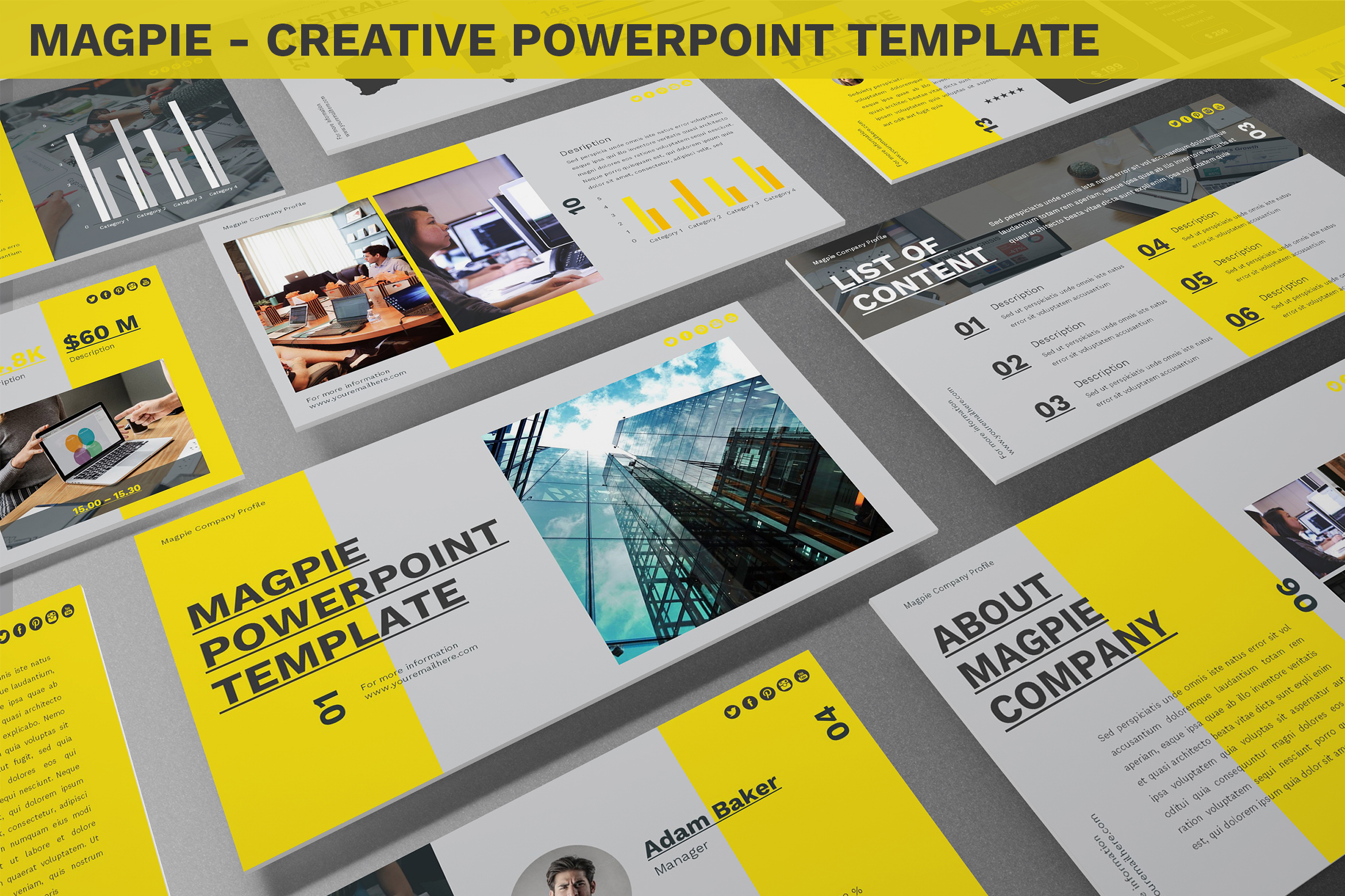 Magpie - Creative Powerpoint Template example image 1