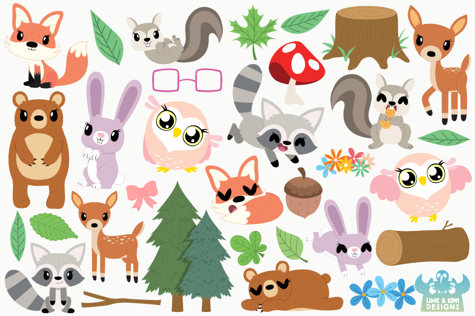Woodland Animals Girls Clipart, Instant Download Vector Art example image 2