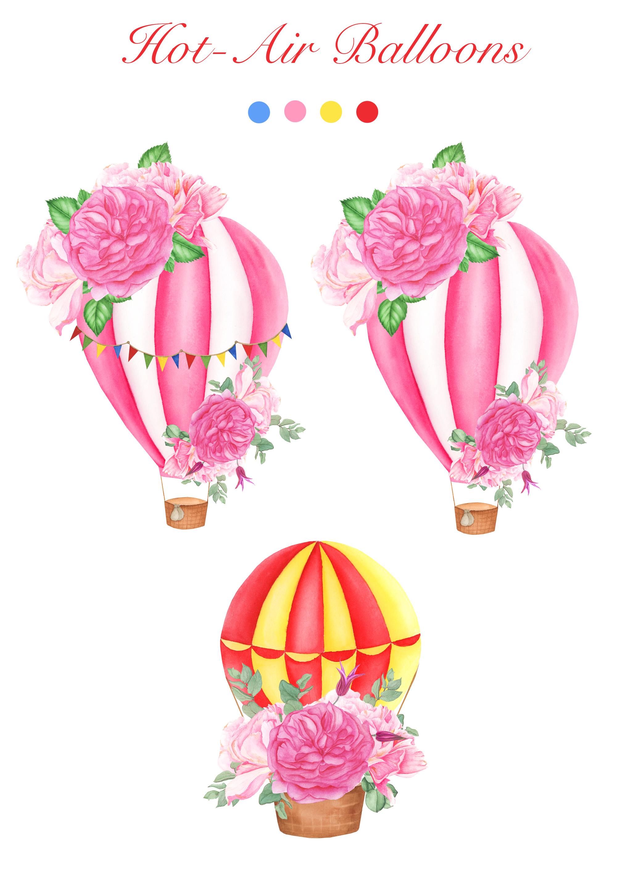 Watercolor Hot-Air Balloons Patterns example image 9