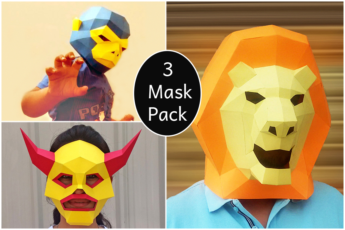 DIY Paper Mask Pack - 3d papercraft example image 1