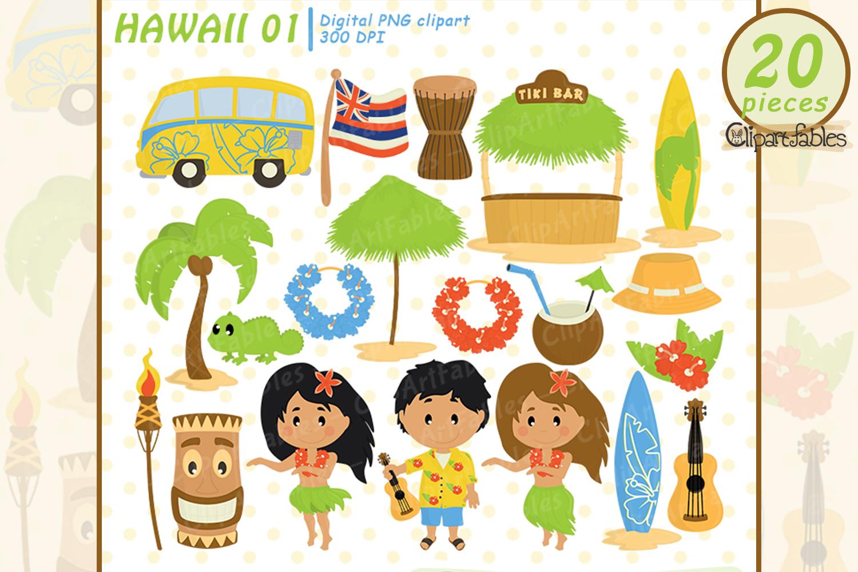 HAWAII clipart, LUAU art, Travel, Tiki clip art example image 1