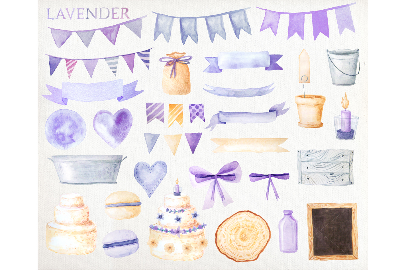 Watercolor Lavender Design Pack example image 3
