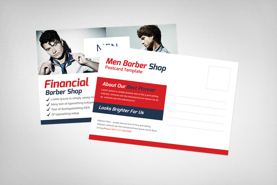 Barber Shop Postcard Template example image 2