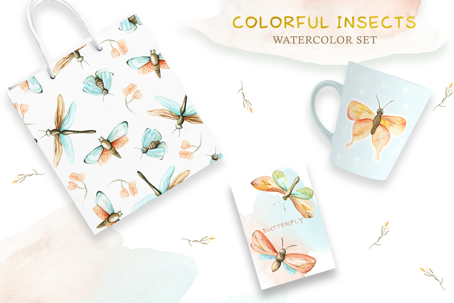 Watercolor Set Colorful Insects example image 4