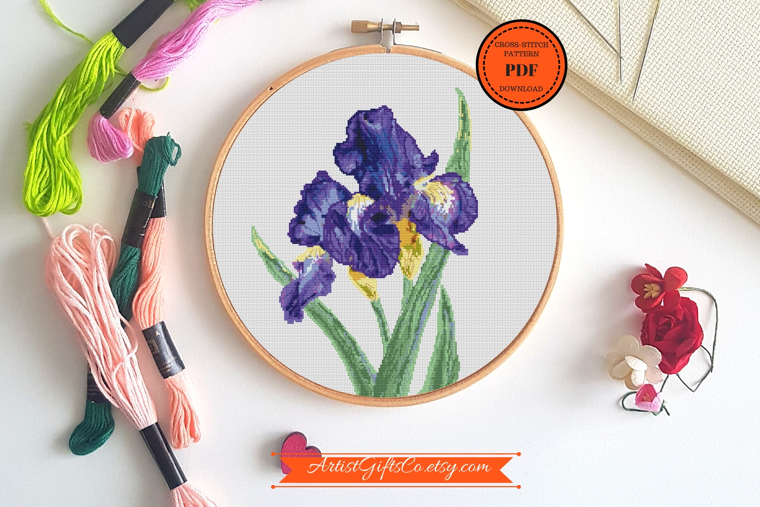 Botanical Art Cross stitch pattern PDF Iris Purple bouqets example image 2