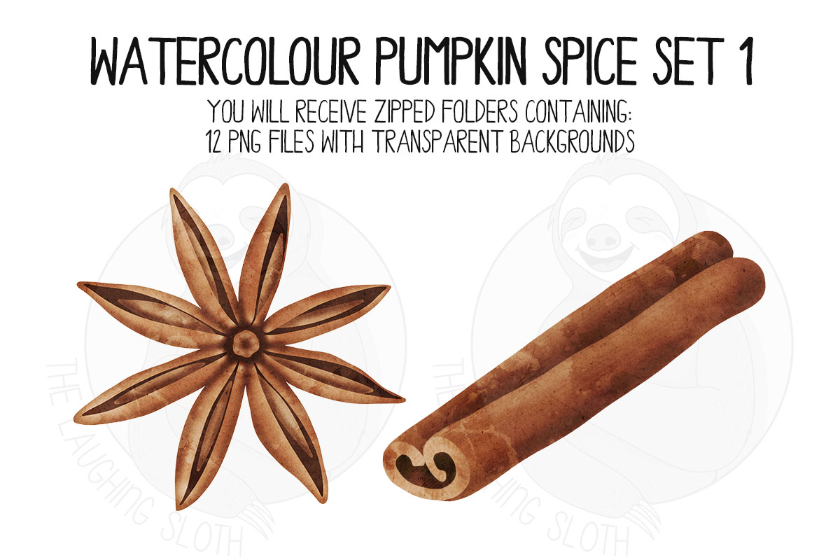 Watercolor Pumpkin Spice Clip Art Set 1 example image 3