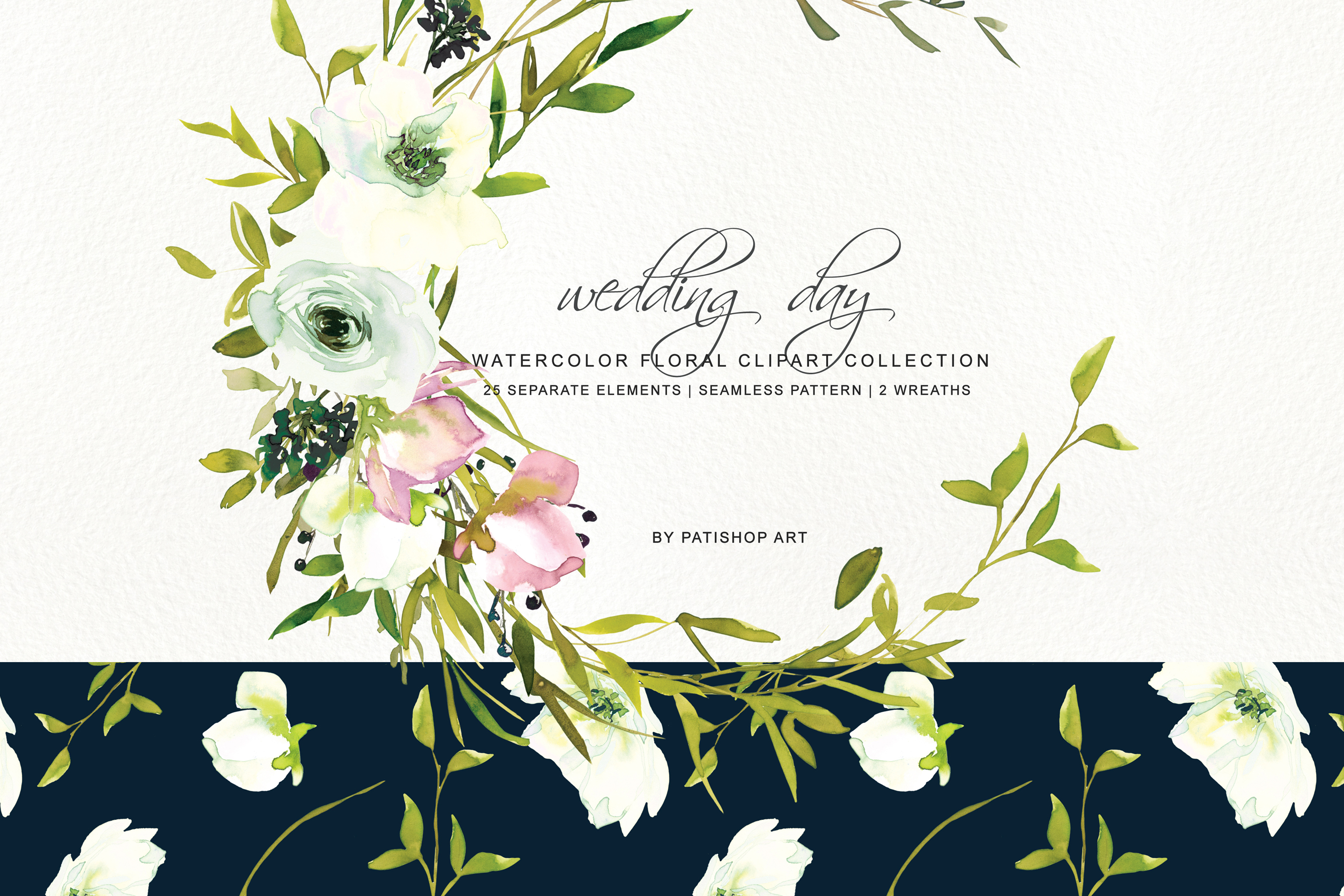 Watercolor Blush and WhiteRose Clipart and Wreaths example image 2