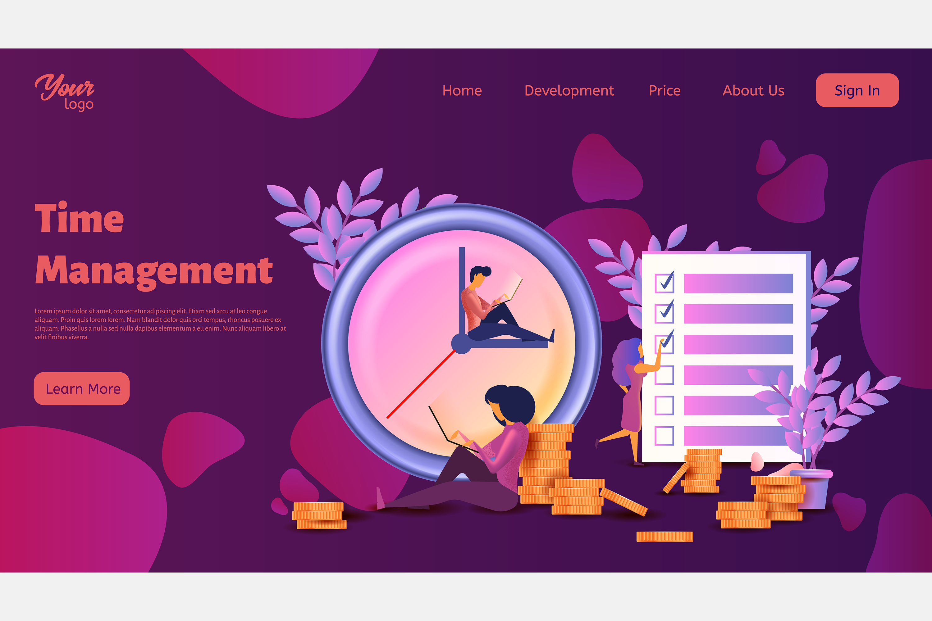 Time management. Landing page headers example image 3