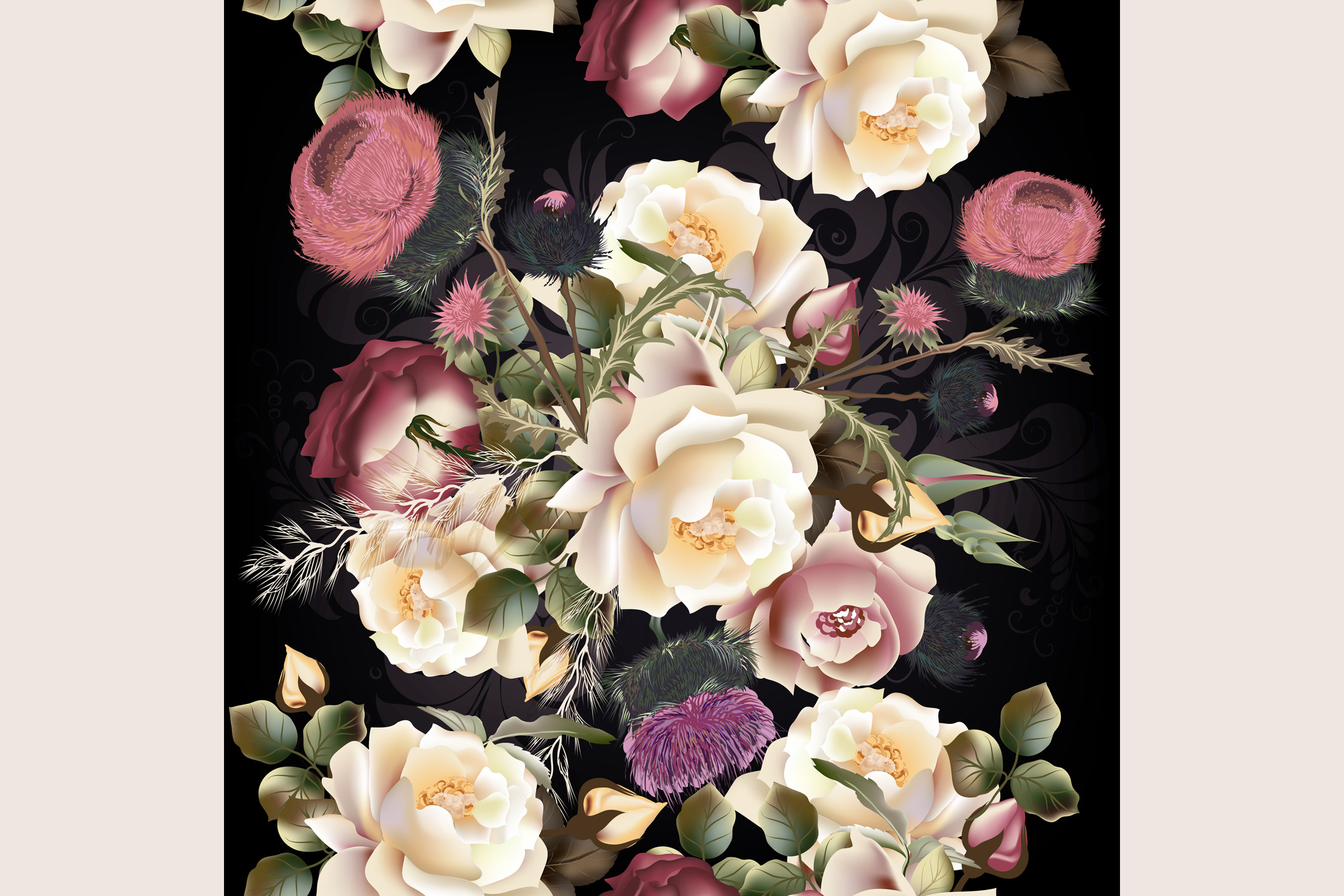 Beauitful vector vintage pattern with roses example image 2