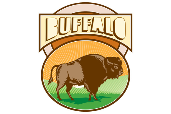 American Bison Buffalo Oval Woodcut example image 1
