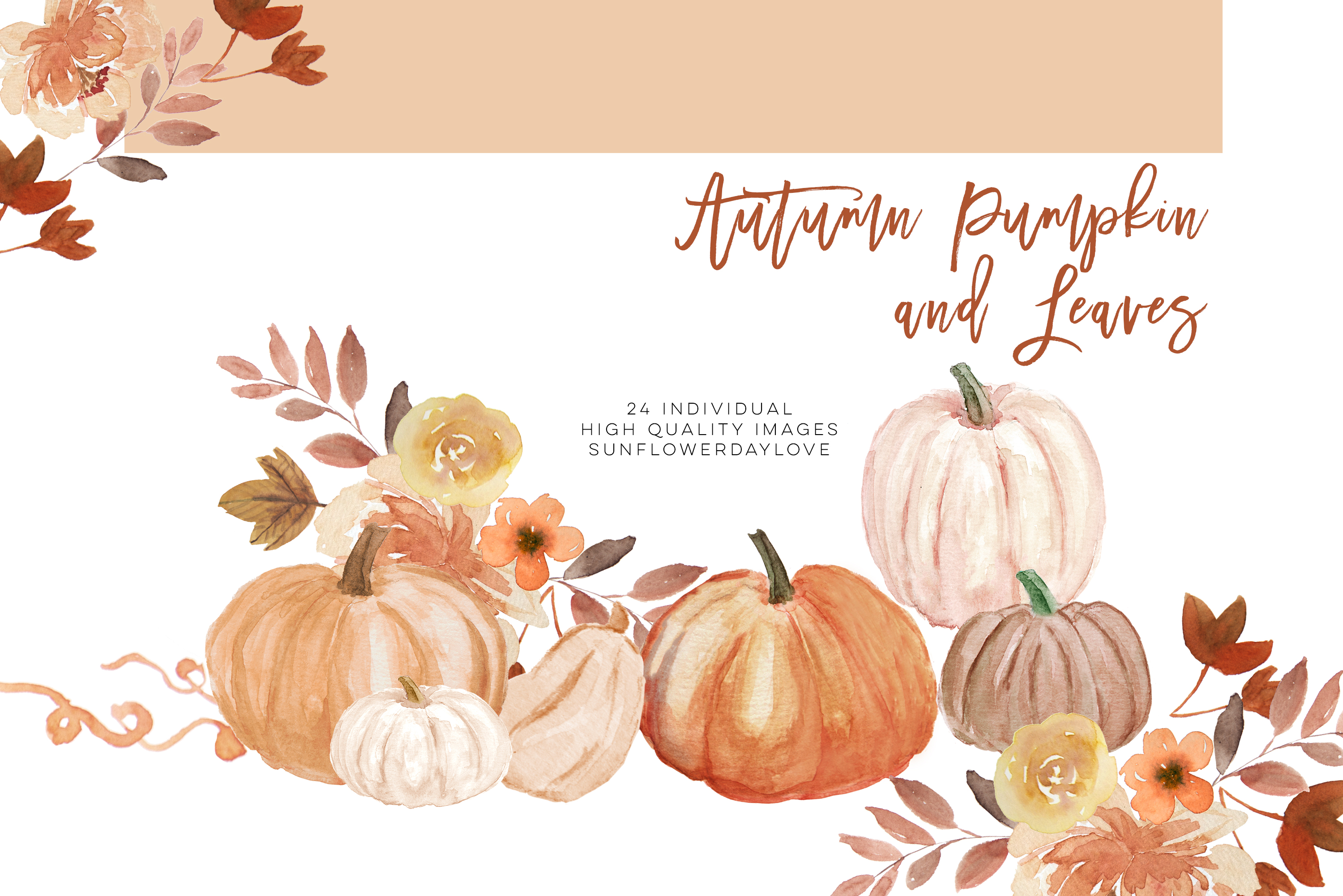 Fall Leaves clipart, Simple Fall Autumn Watercolor clipart, example image 2