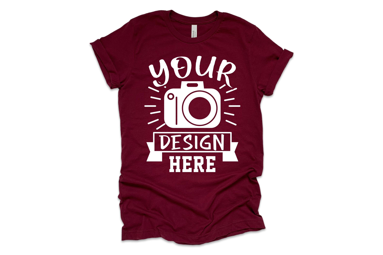 Bella Canvas 3001 Mockup, flat lay Maroon t-shirt mockup example image 1