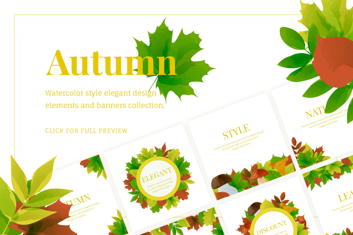 Autumn watercolor style vector collection. example image 1