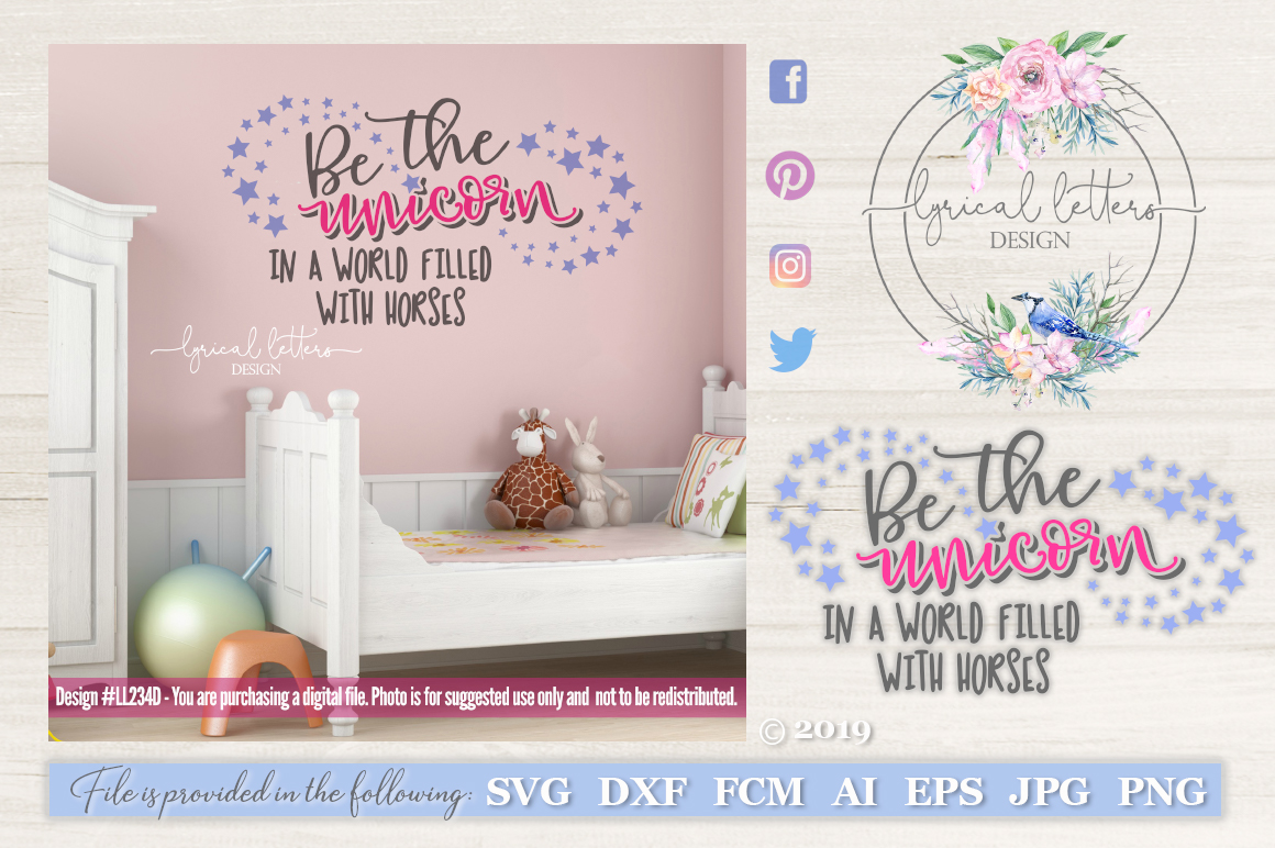Be the Unicorn In a World Filled with Horses SVG DXF L234DL example image 1