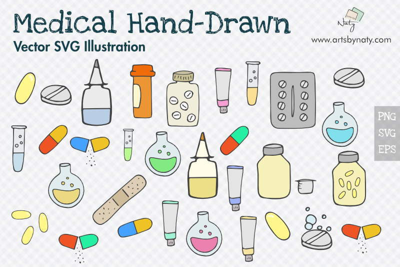 Medical Hand-Drawn SVG Vector Pack with 54 files. example image 1