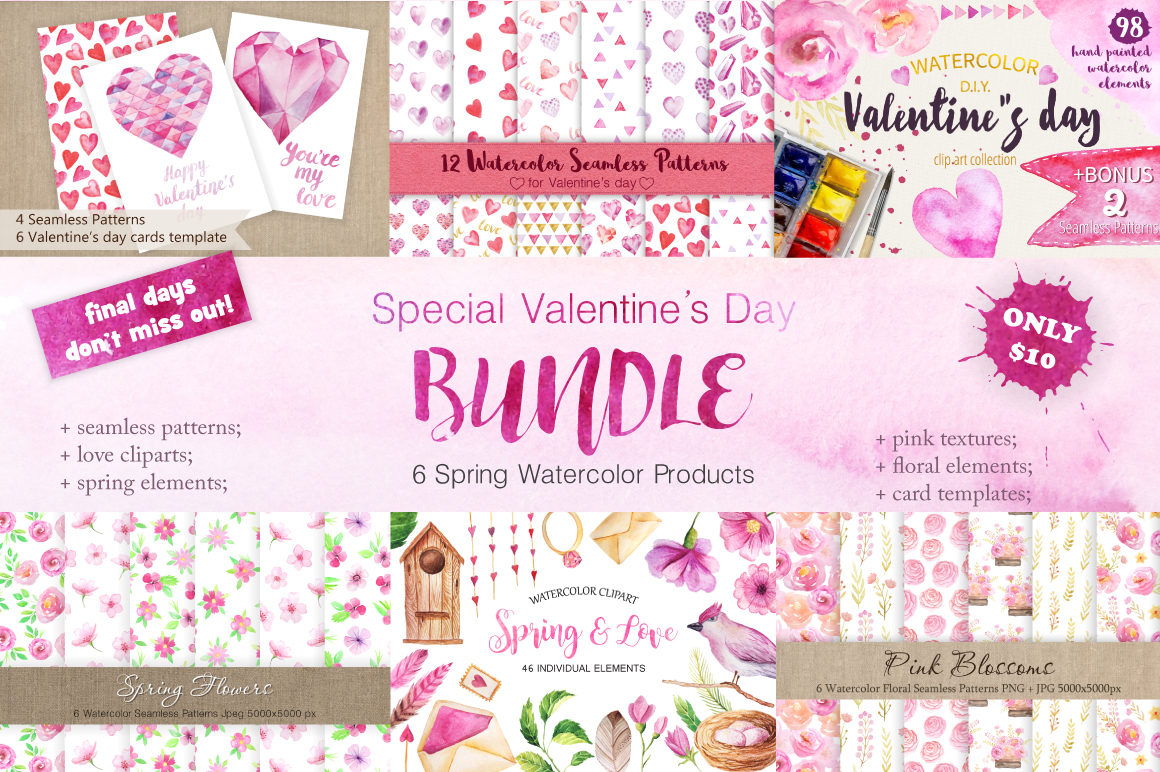 Watercolor Valentine's Day BUNDLE example image 1