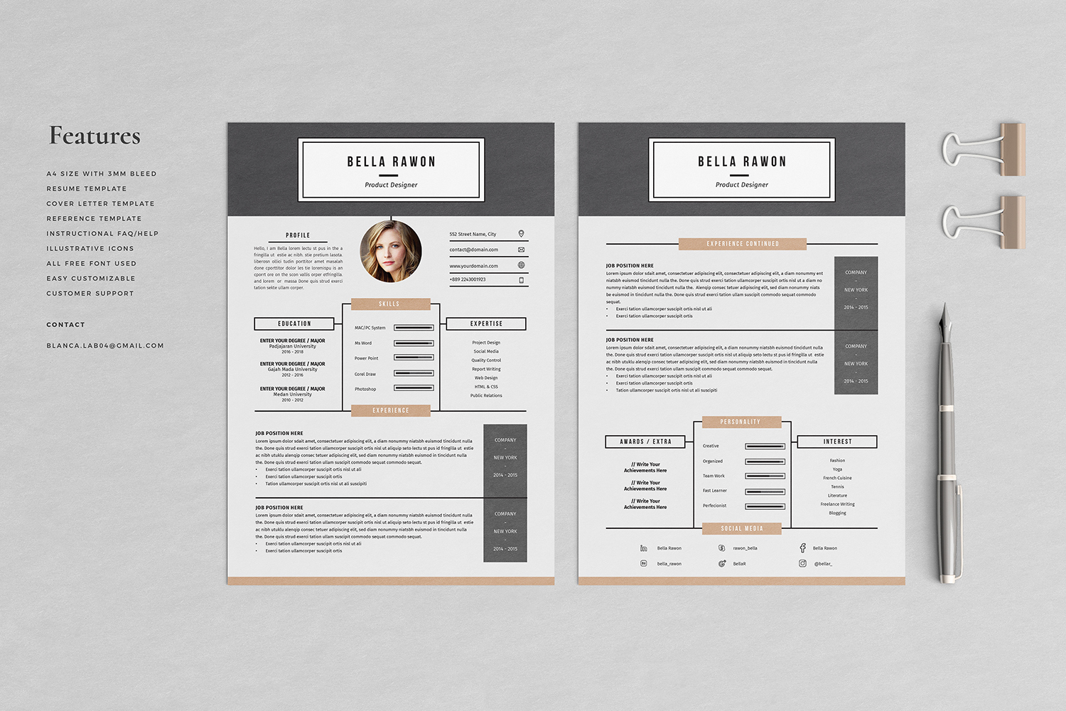Bella Resume with Cover Letter Professional Template example image 2