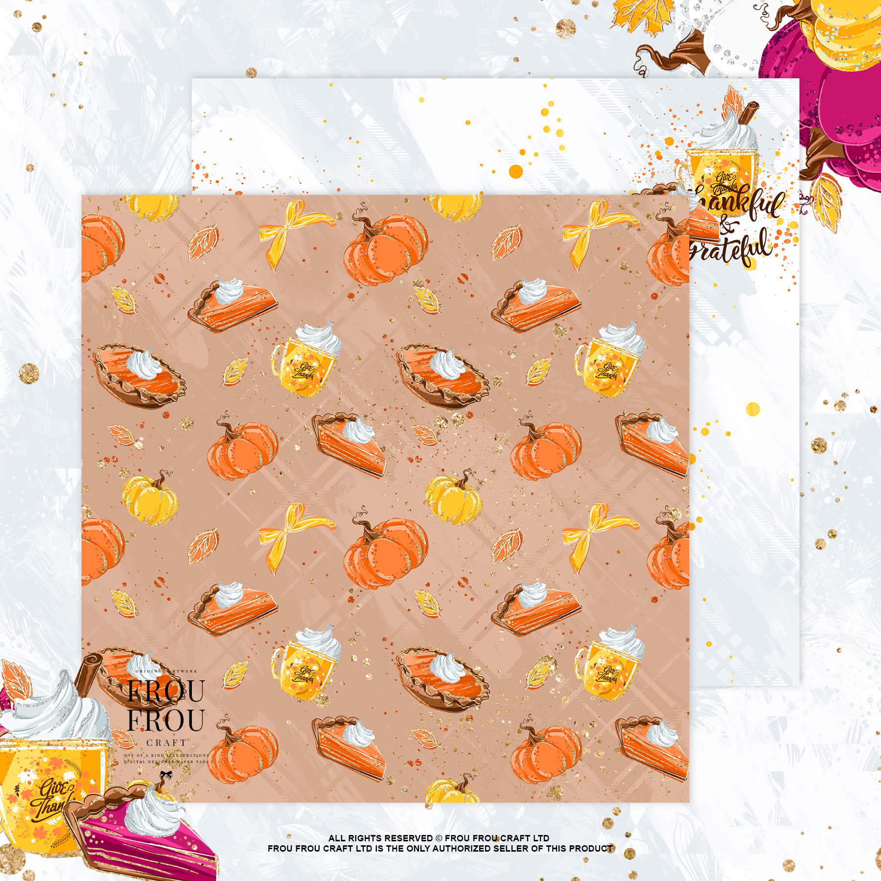 Sweets Cake Pumpkin Pie Fall Autumn Paper Pack example image 2