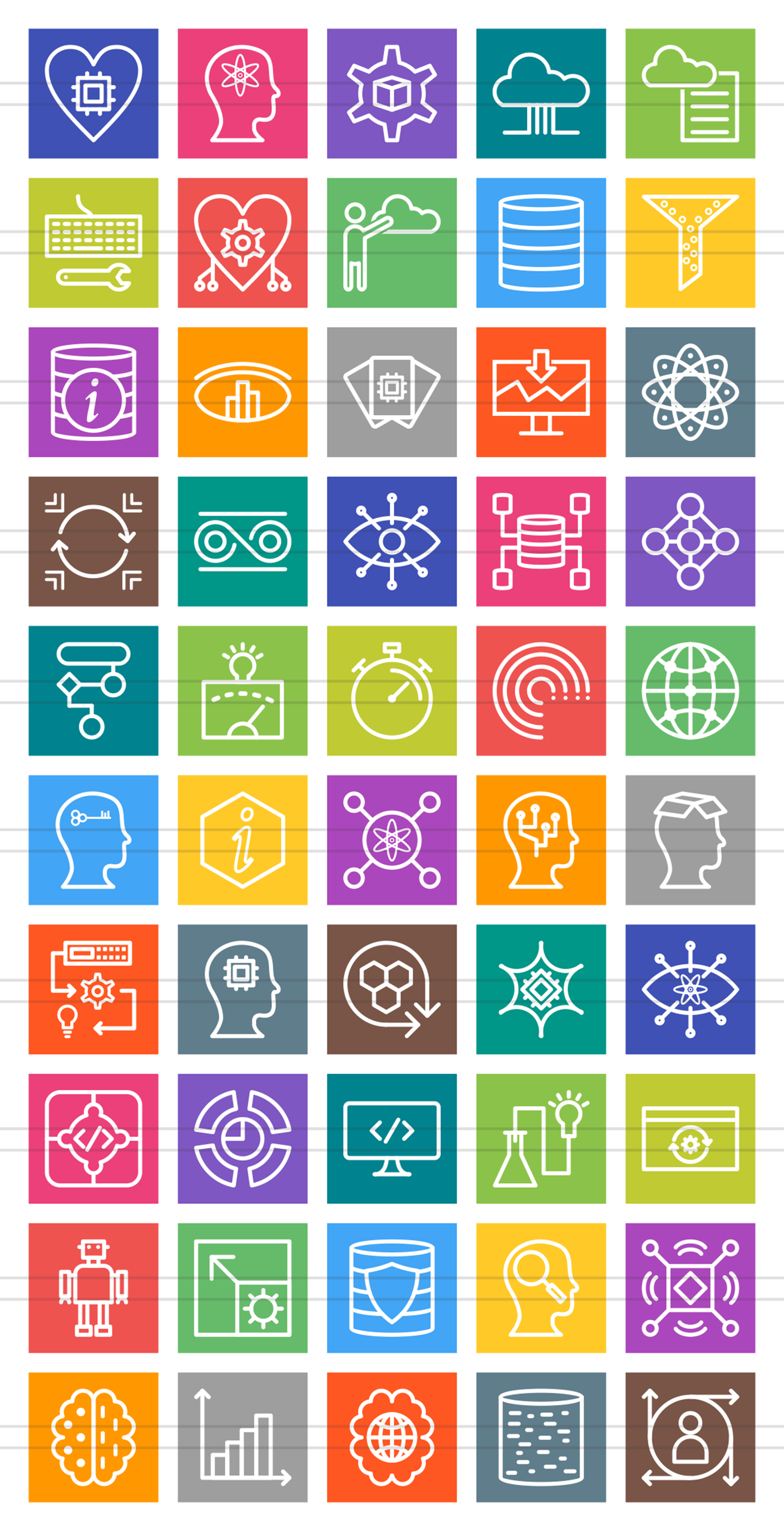 50 Data Analytics Line Multicolor B/G Icons example image 2
