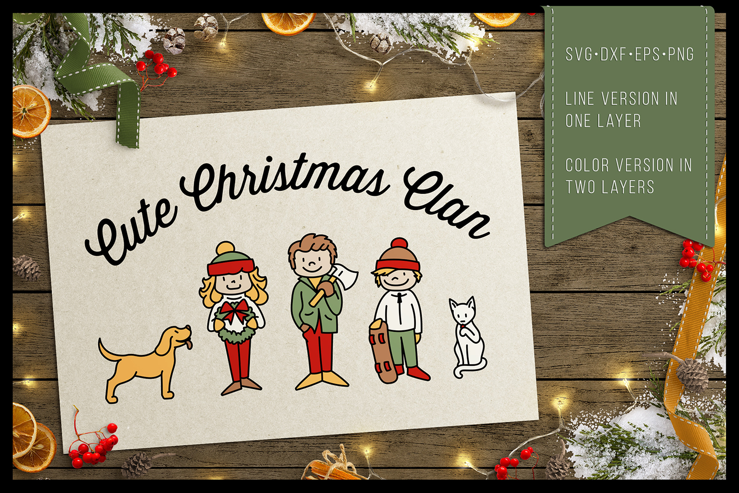 Cute Christmas Clan - Family Characters svg cutfiles vector example image 3