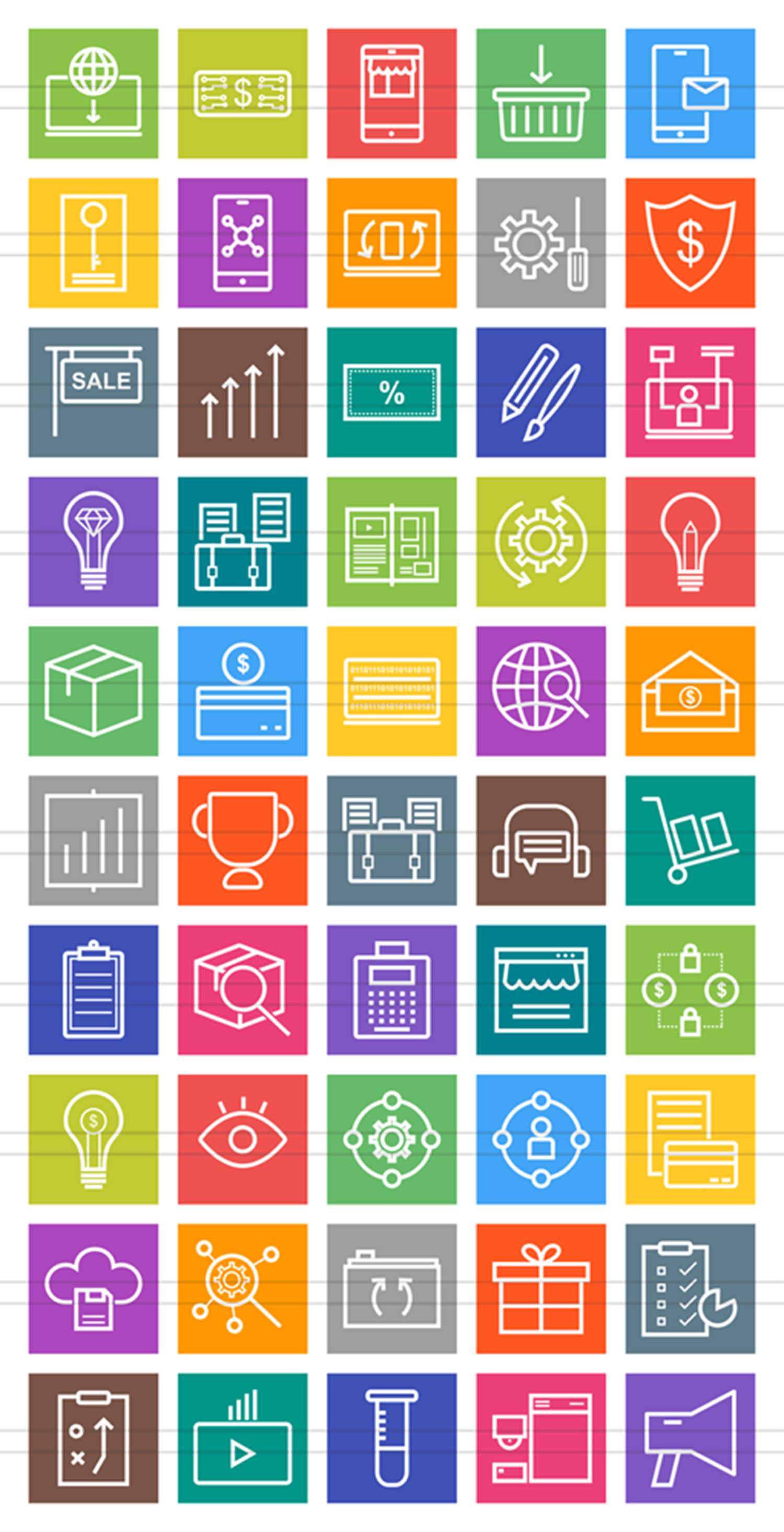 50 Digital Web Line Muticolor B/G Icons example image 2