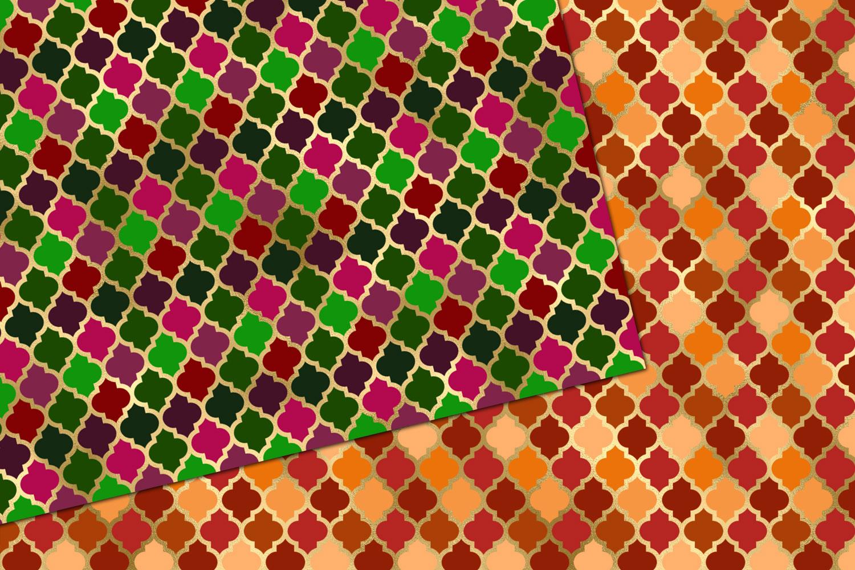 Jewel Tone Quatrefoil Digital Paper example image 4