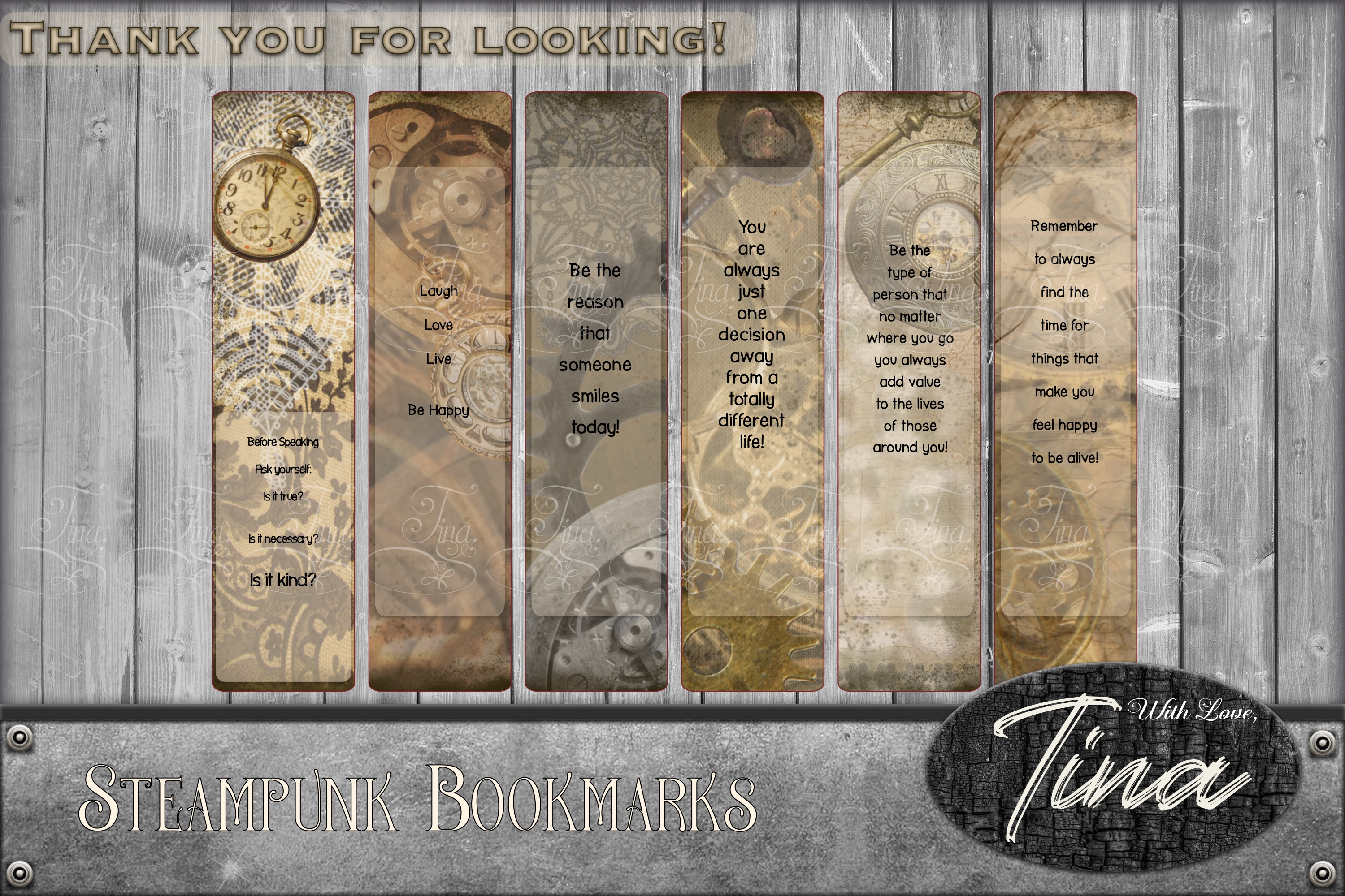 6 STEAMPUNK PRESTIGE Bookmarks Collage 091618SP4 example image 1