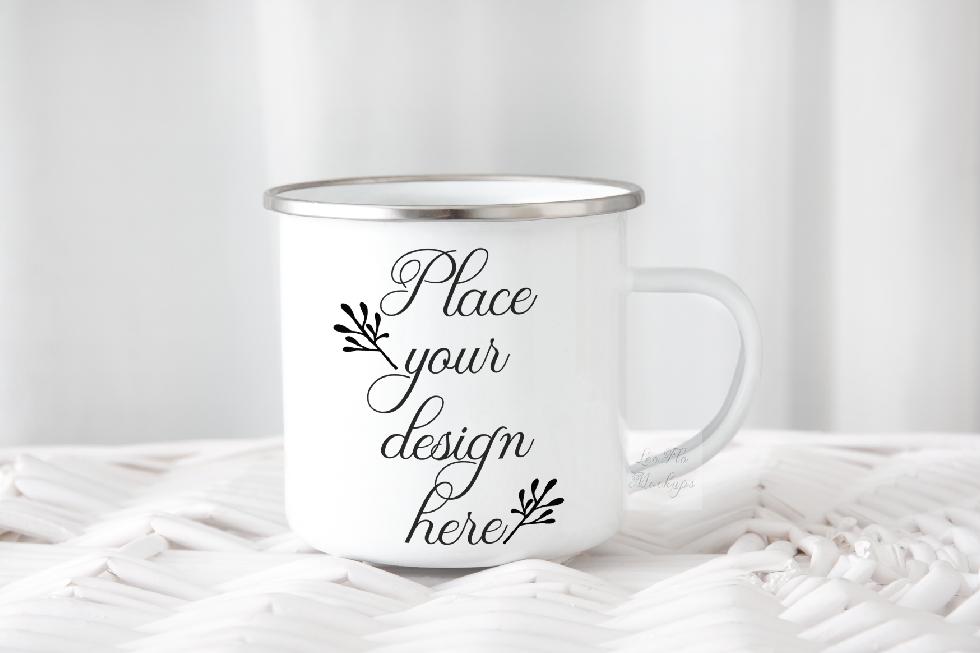 Camping tin mug mockup enamel cup mock up psd smart object example image 1
