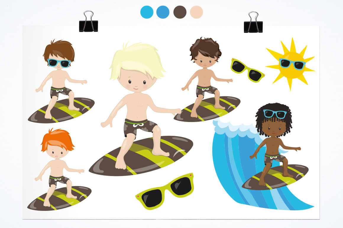 Surfing Boys graphic and illustrations example image 2