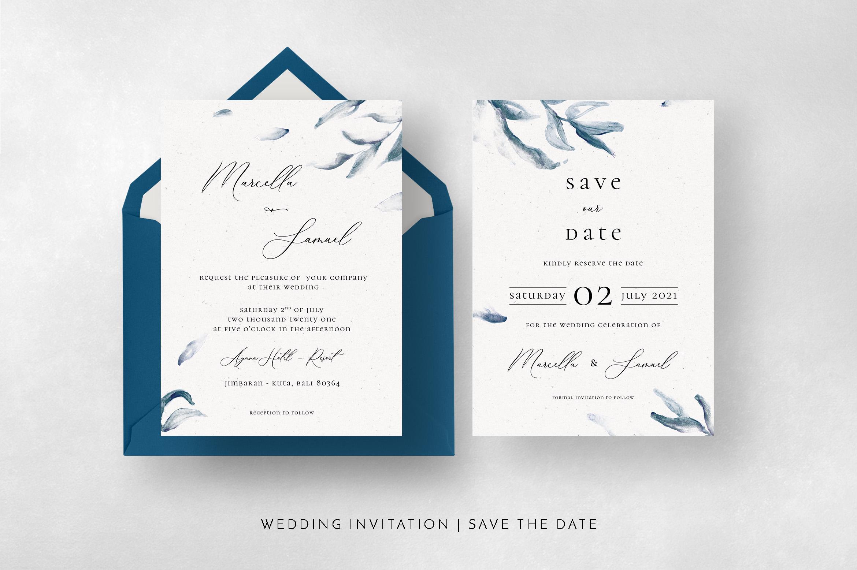 Elegant Blue Watercolor Sprig Wedding Suite example image 8
