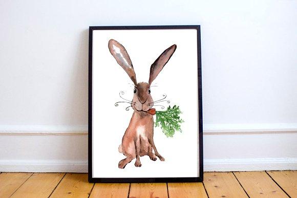 Watercolor Hare Print + Clip Art example image 2