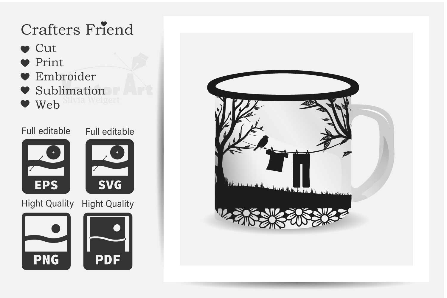 Trees and Clothes line - Cut File for Crafter example image 2