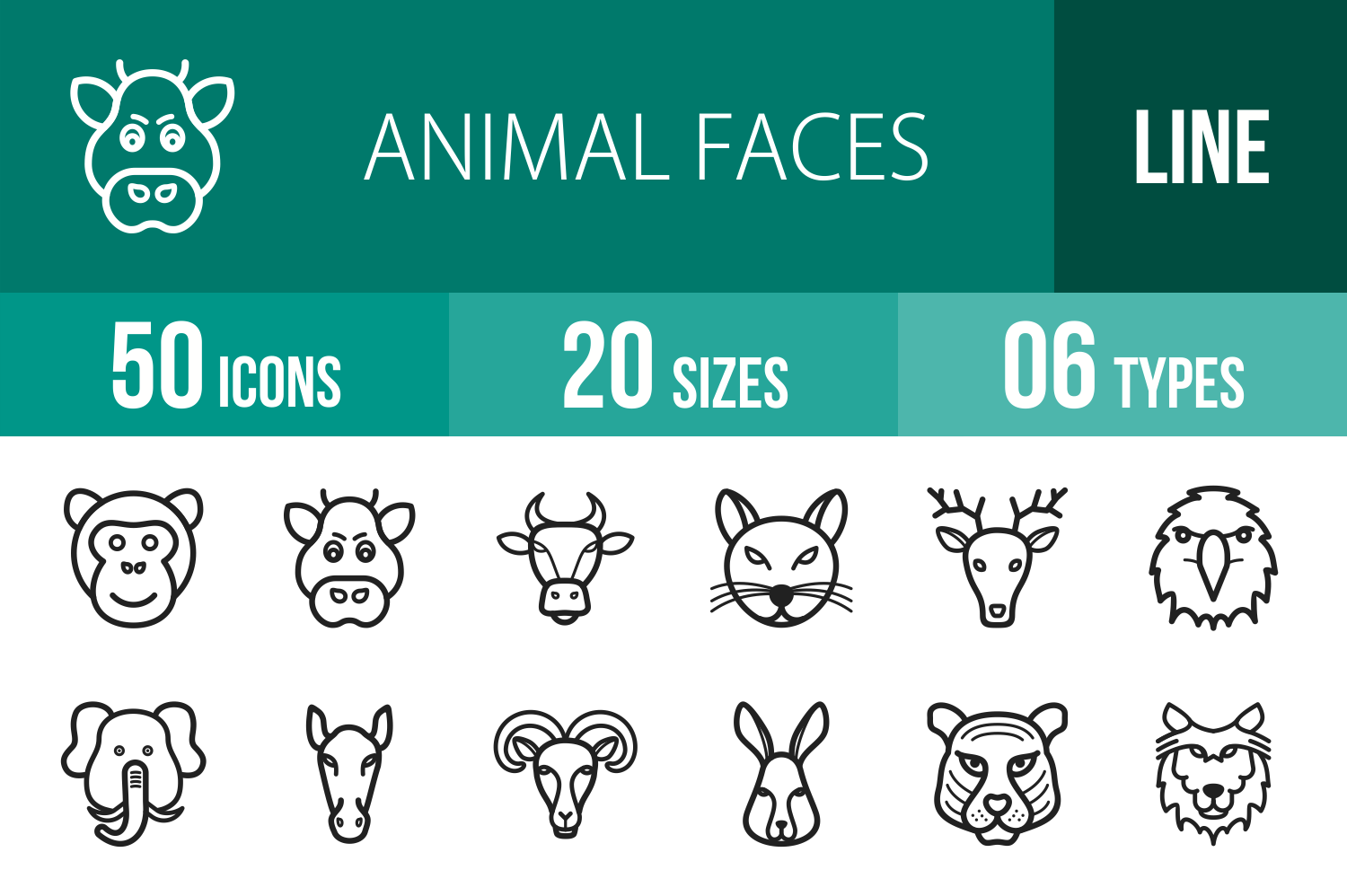 50 Animal Faces Line Icons example image 1