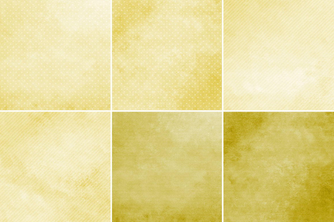 Watercolor Texture Backgrounds With Dots & Stripes - Yellow example image 2